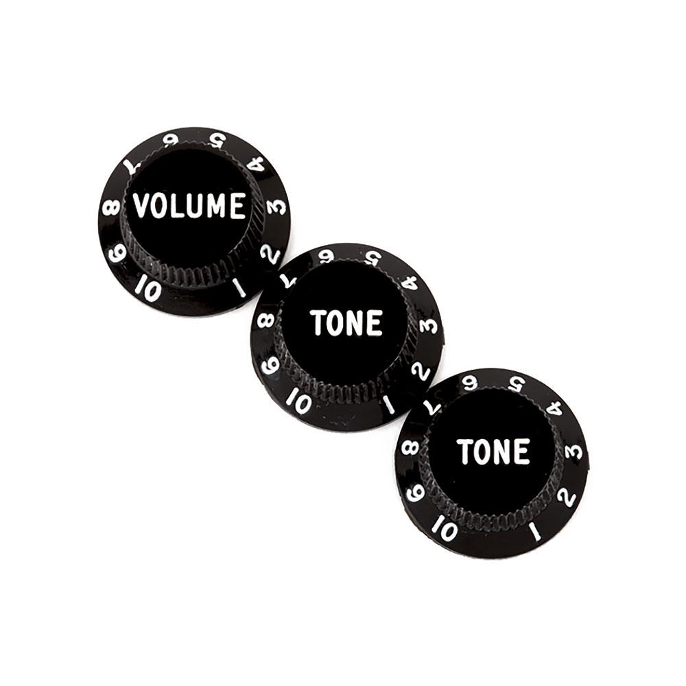 Fender Stratocaster Control Knobs Set of 3 Volume/Tone/Tone (Black)