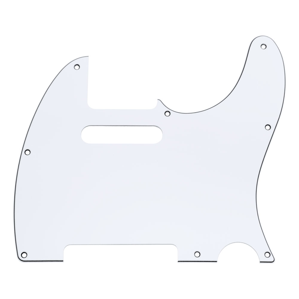 Hosco 3 Ply 8 Hole Telecaster Style Scratchplate/Pickguard (White)