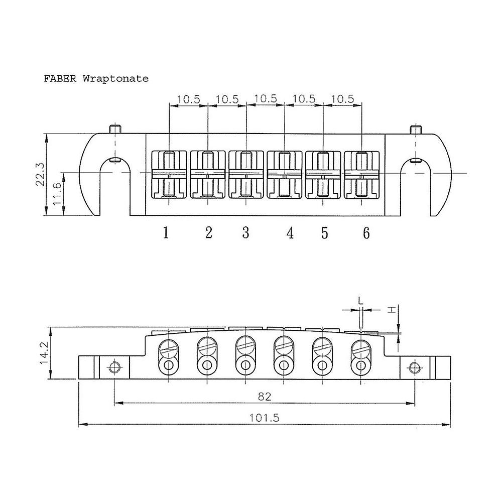 Faber Wraptonate Wraparound Bridge Tailpiece (Aged/Relic Nickel, Metric (mm))