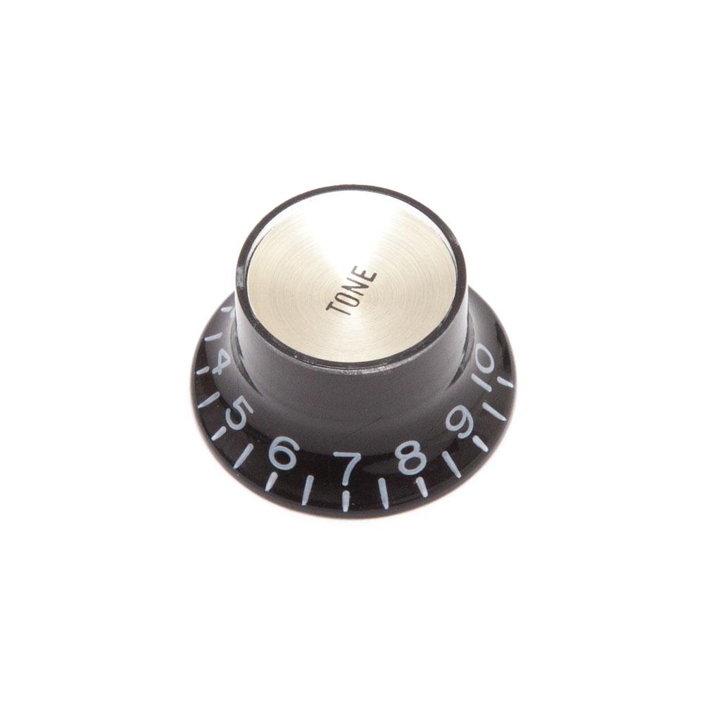 Hosco Reflector Tone Control Knob Gibson Style (Black w/Gold Cap, Metric (mm))