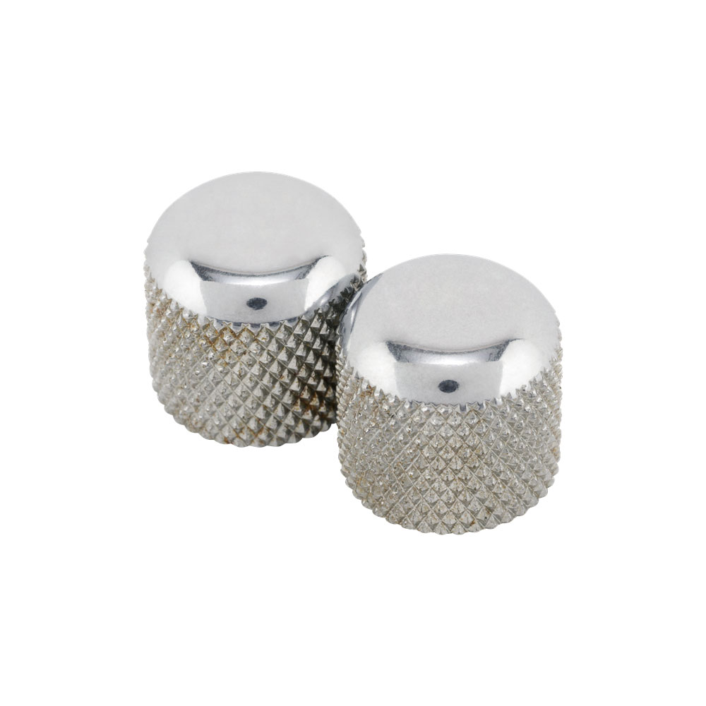 Fender Road Worn Telecaster Dome Control Knobs with Screw Set of 2 (Aged/Relic Chrome)