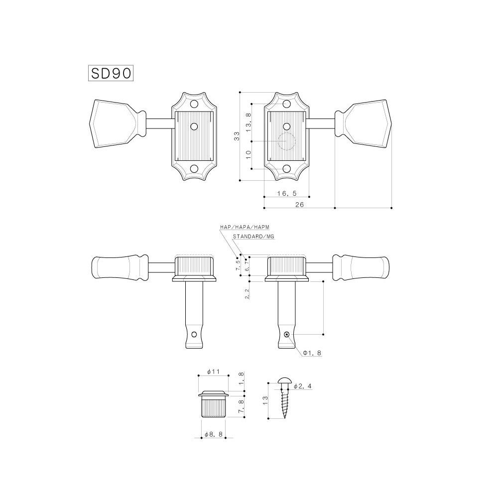 Gotoh SD90 Tuners 3 x 3 Kluson Style (Nickel, SL)