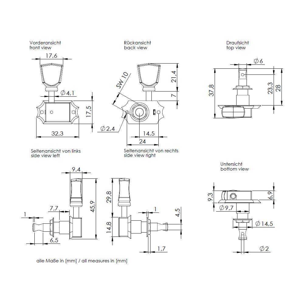 Schaller Original G-Series Deluxe Tuners 3 x 3 Kluson Style (Nickel, 16)