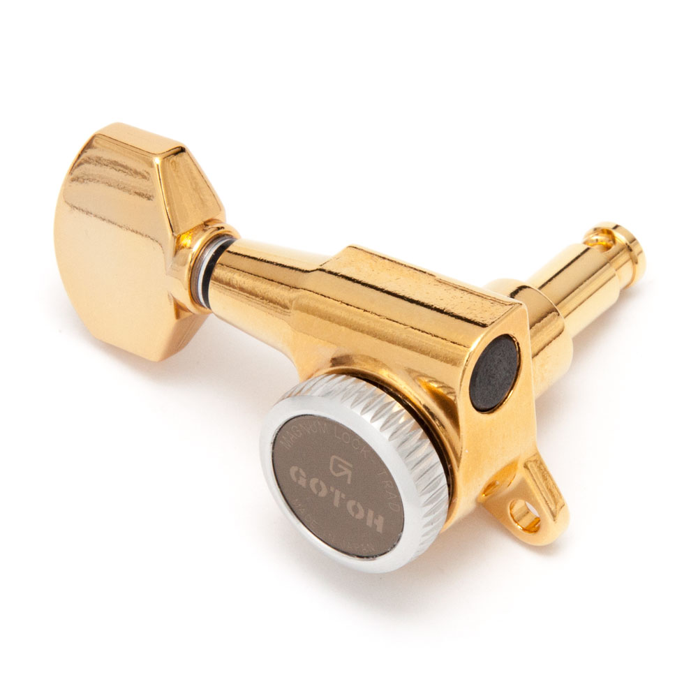 Gotoh SG381 Traditional Magnum Locking Tuners 6 In-Line Left Handed (Gold, 07)