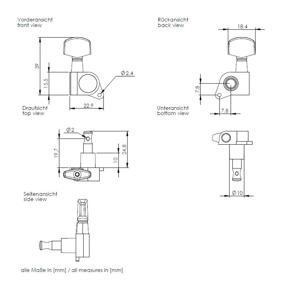 Schaller M6 Tuners 6 In-Line Right Handed 135 Screw (Black, .01)