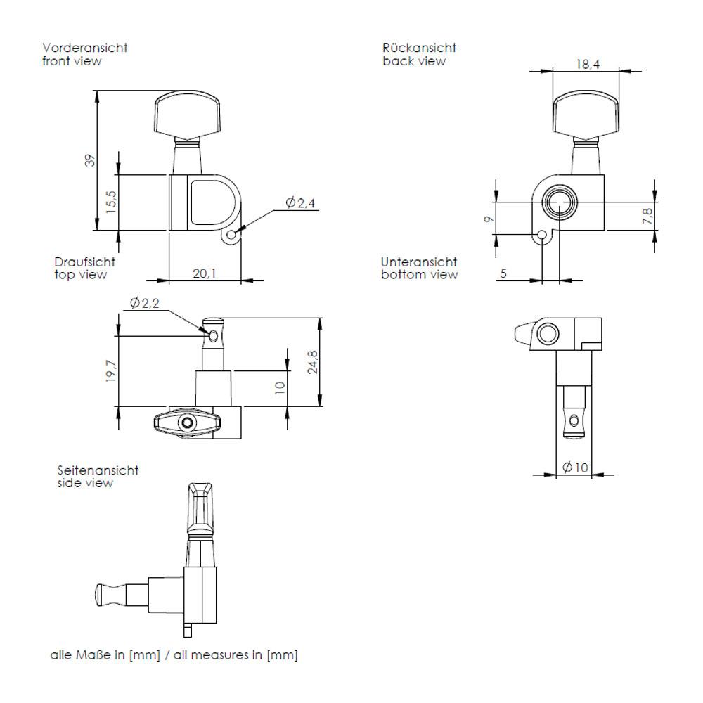 Schaller M6 Tuners 6 In-Line Right Handed 180 Screw (Black, .01)