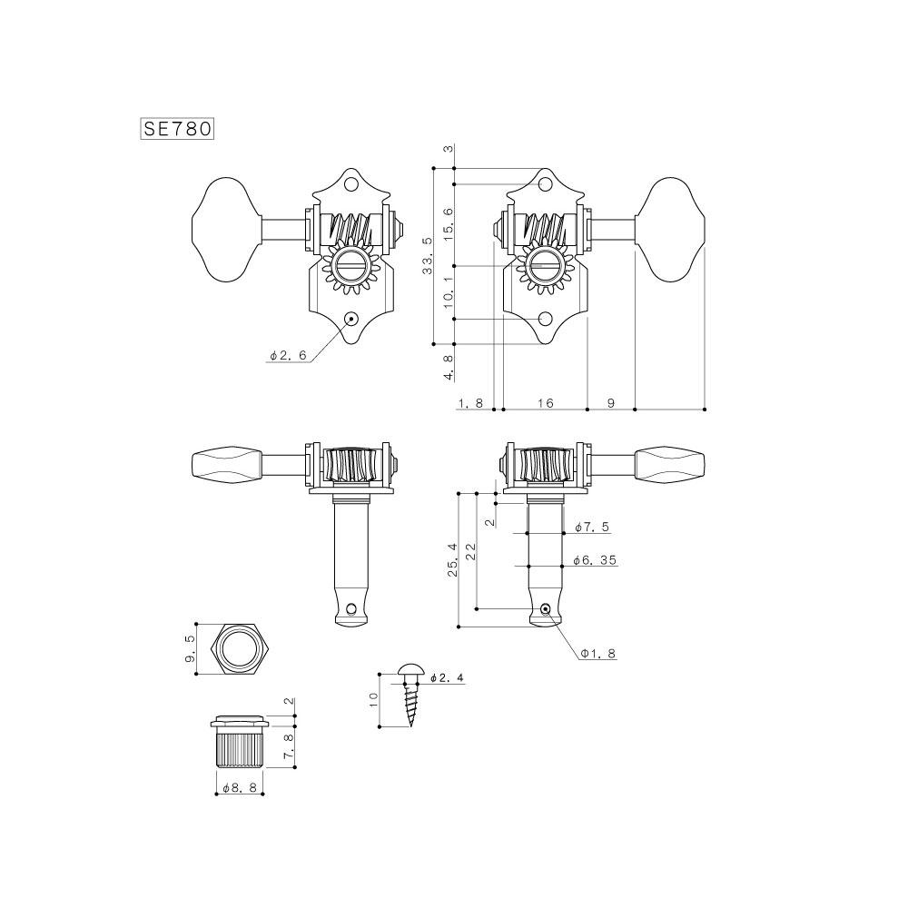 Gotoh SE780 Tuners 3 x 3 Martin/Sta-Tite/Waverly Style (Chrome, SL)