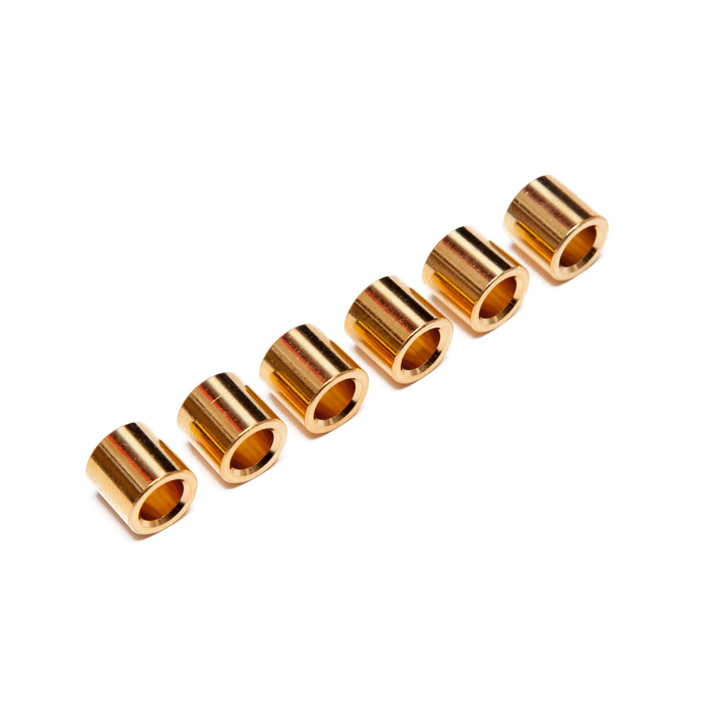 Hosco Back Guitar String Ferrules No Lip Set of 6 (Gold)