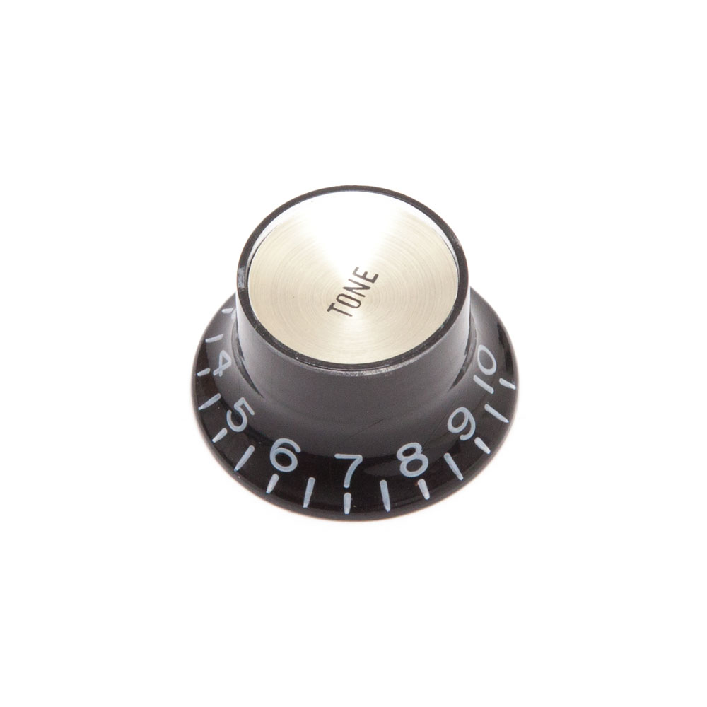 Hosco Reflector Tone Control Knob Gibson Style (Black w/Gold Cap, Imperial (inch))