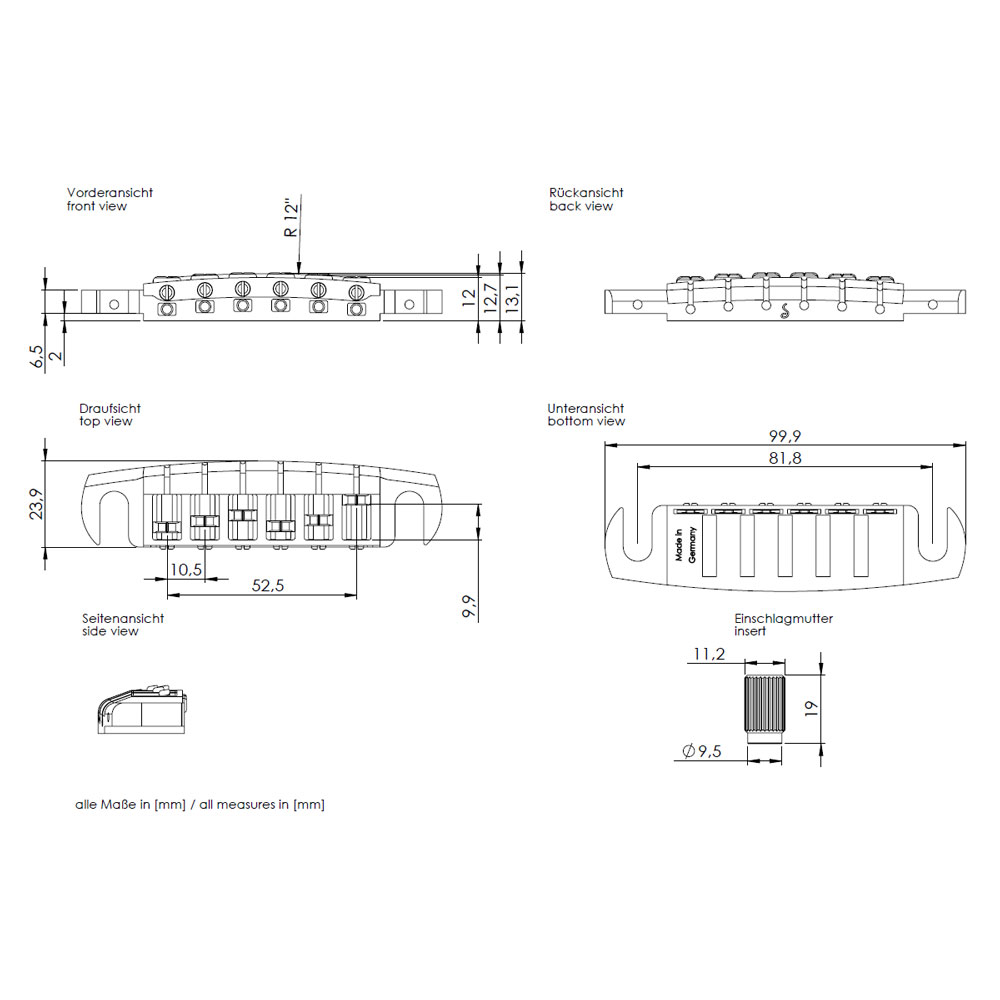 Schaller Signum Wraparound Bridge Tailpiece (Chrome)