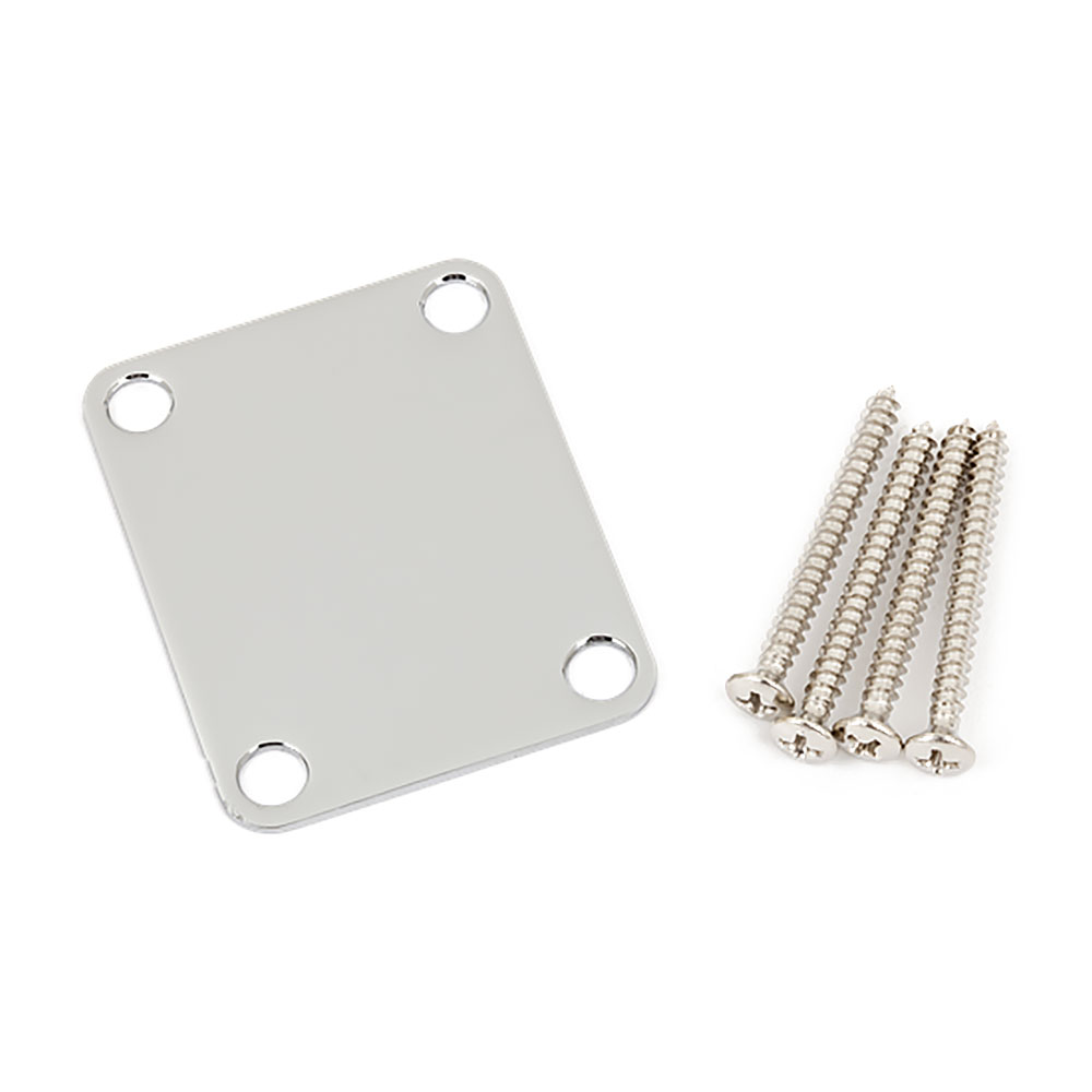 Fender Vintage Style No Logo Neck Mounting Plate with Screws (Chrome)