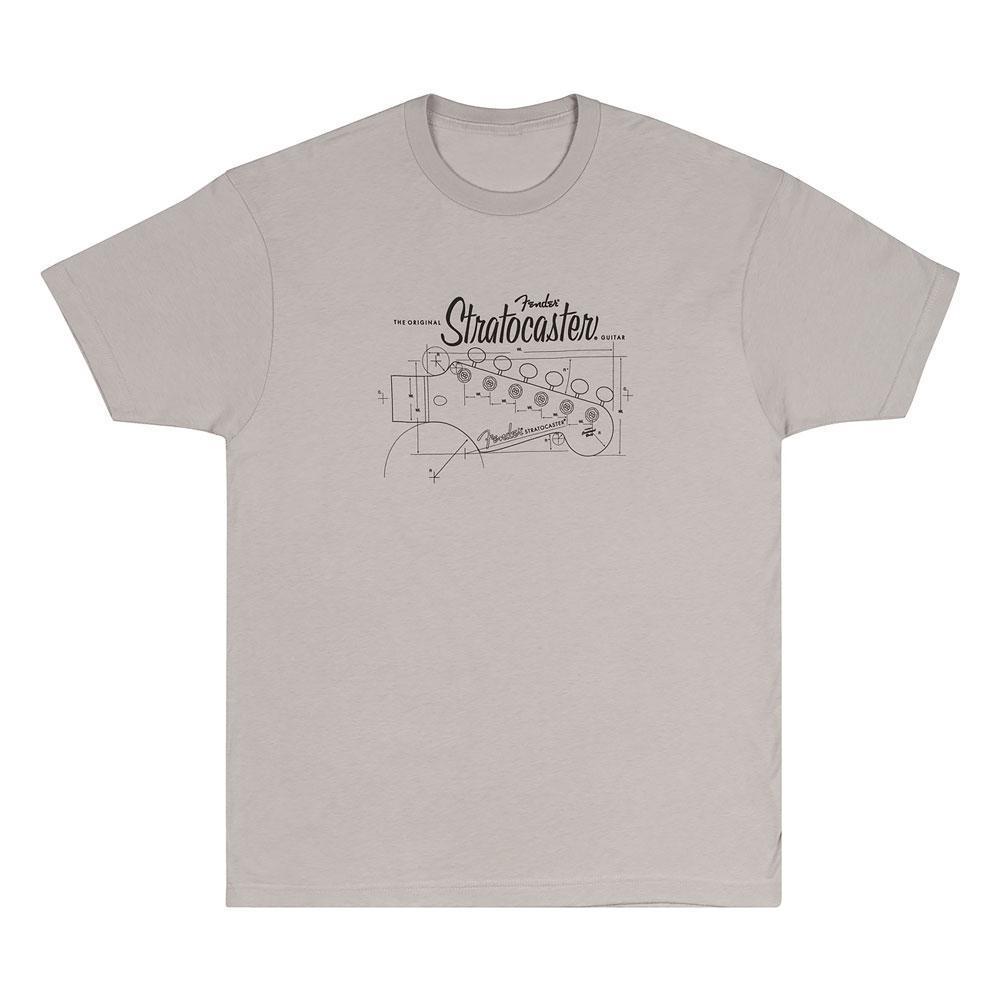 Fender Strat/Stratocaster Headstock Blueprint T-Shirt - 30% Off! (Silver, Medium)