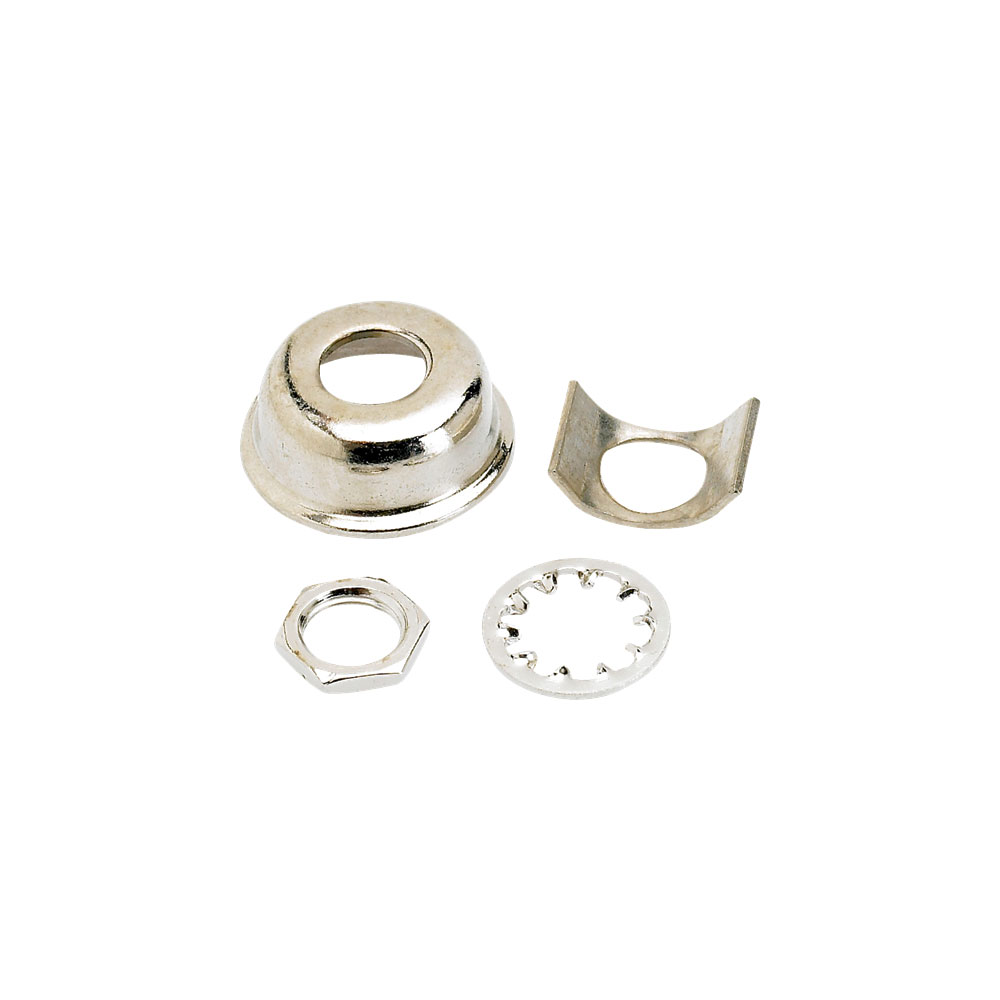 Fender Telecaster Jack Ferrule Cup with Retainer Clip (Nickel)