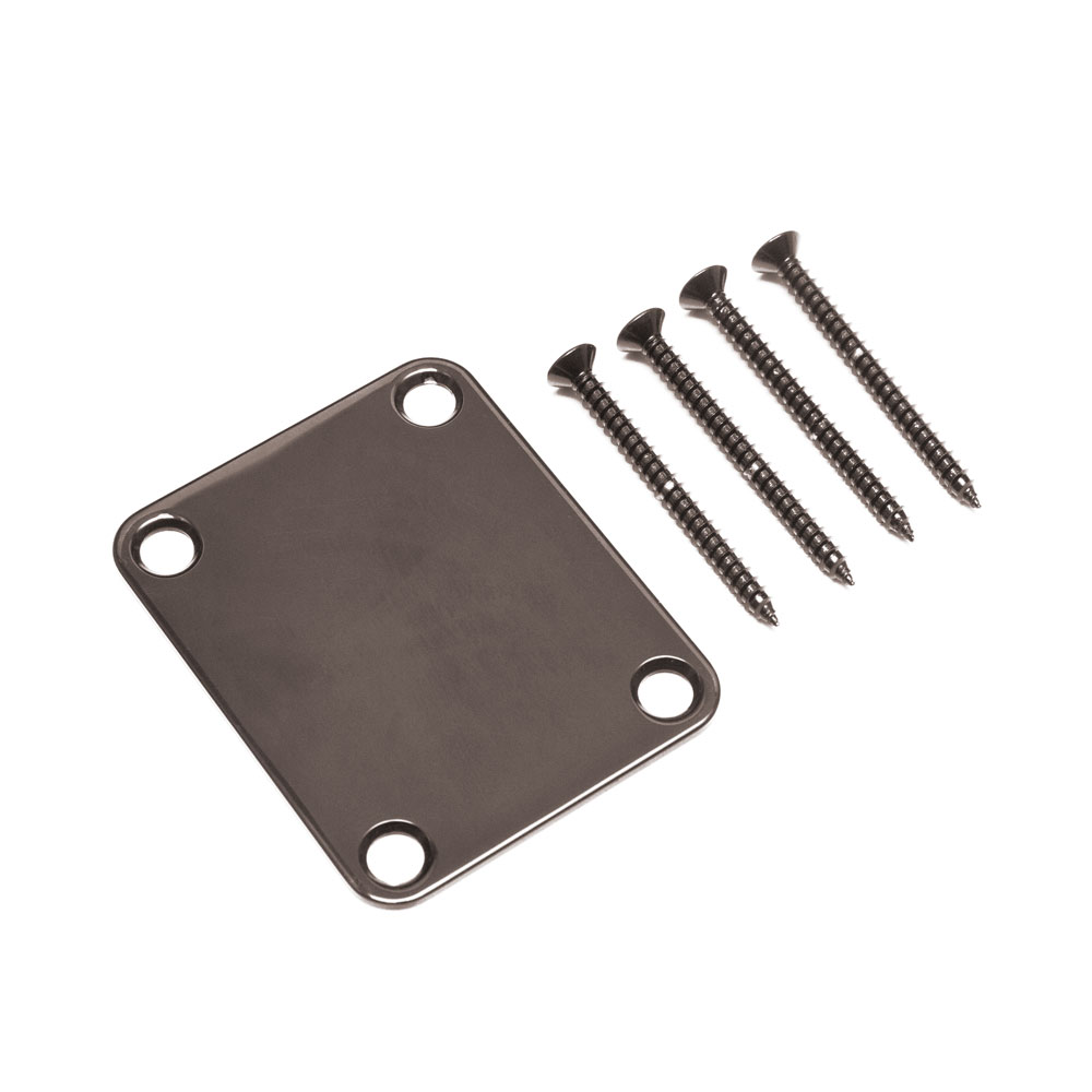 Gotoh NBS-3 Fender Style Neck Mounting Plate with Screws (Cosmo Black)