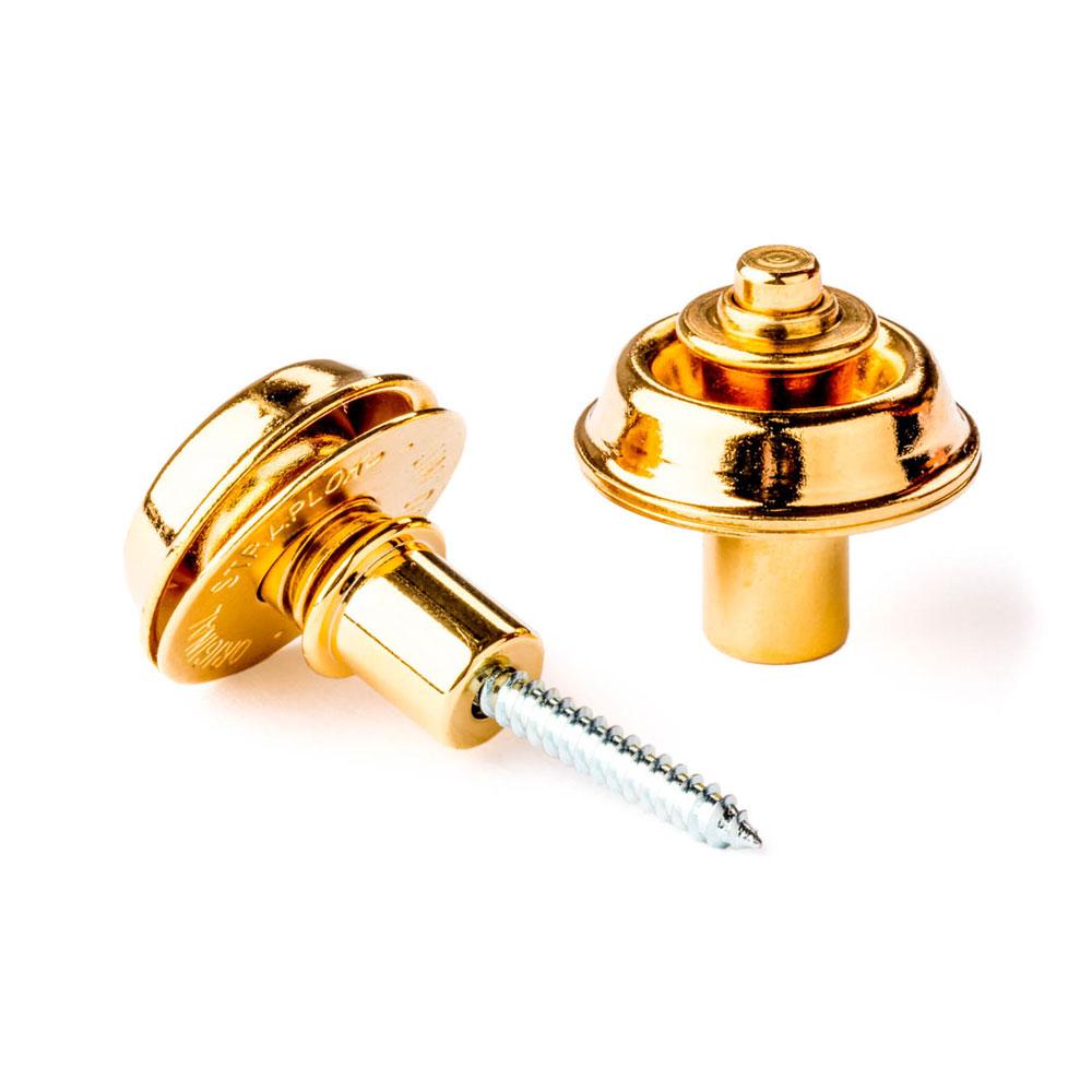Jim Dunlop Straplok Flush Mount Strap Locks Set of 2 (Gold)