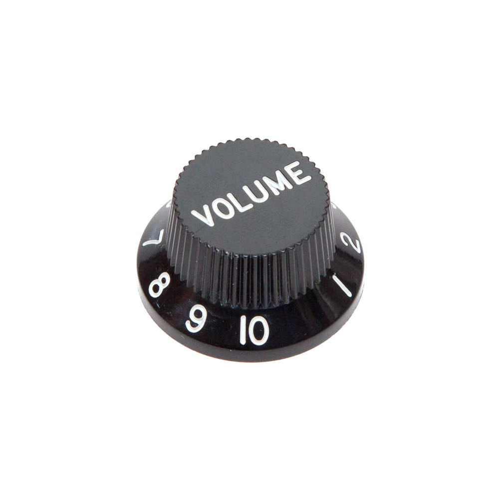 Hosco Volume Control Knob Fender Stratocaster Style (Black, Imperial (inch))