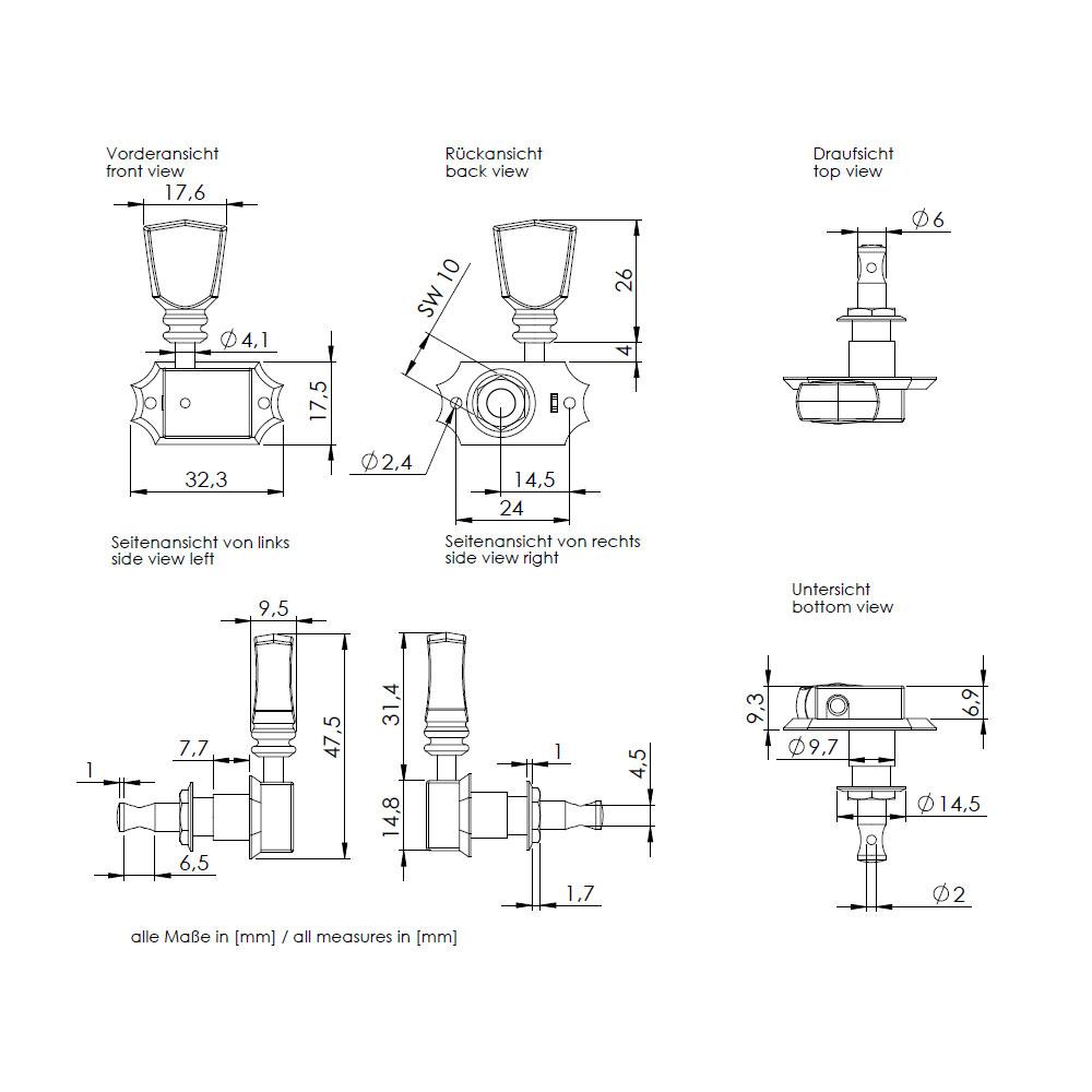 Schaller Original G-Series Deluxe Tuners 3 x 3 Kluson Style (Nickel, 17)