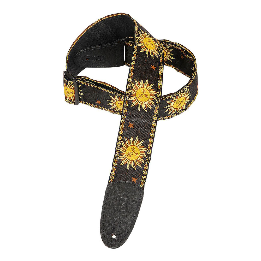 "Levy's 2"" Sun Design Jacquard Leather Backed Guitar Strap (Black)"