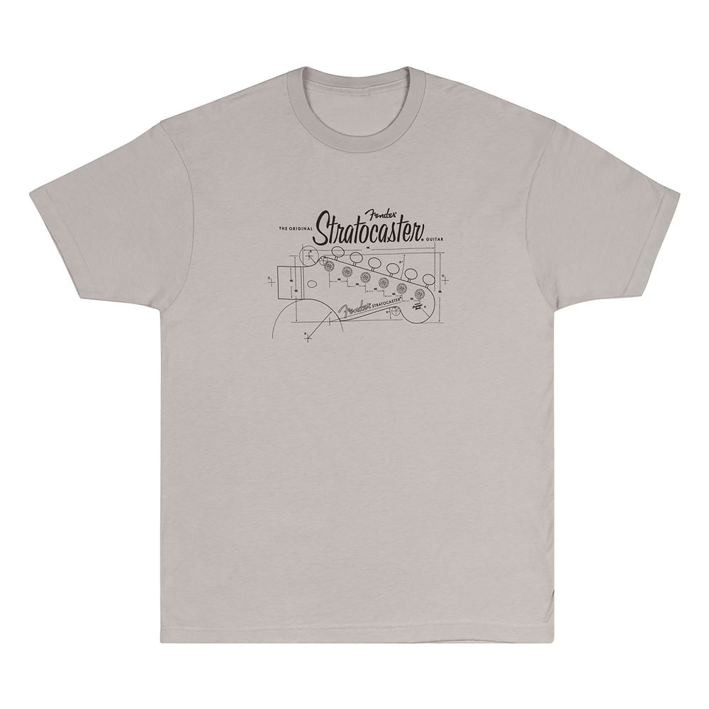 Fender Strat/Stratocaster Headstock Blueprint T-Shirt - 30% Off! (Silver, X-Large)
