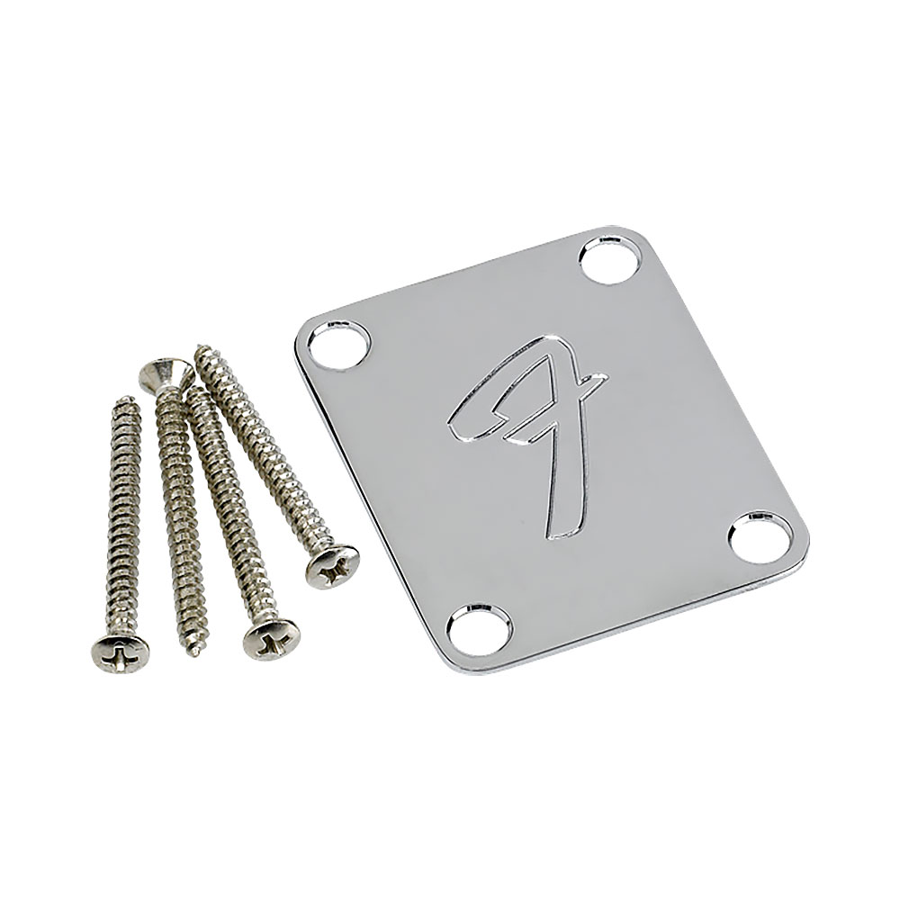 Fender 70s Style F Logo Neck Mounting Plate with Screws (Chrome)