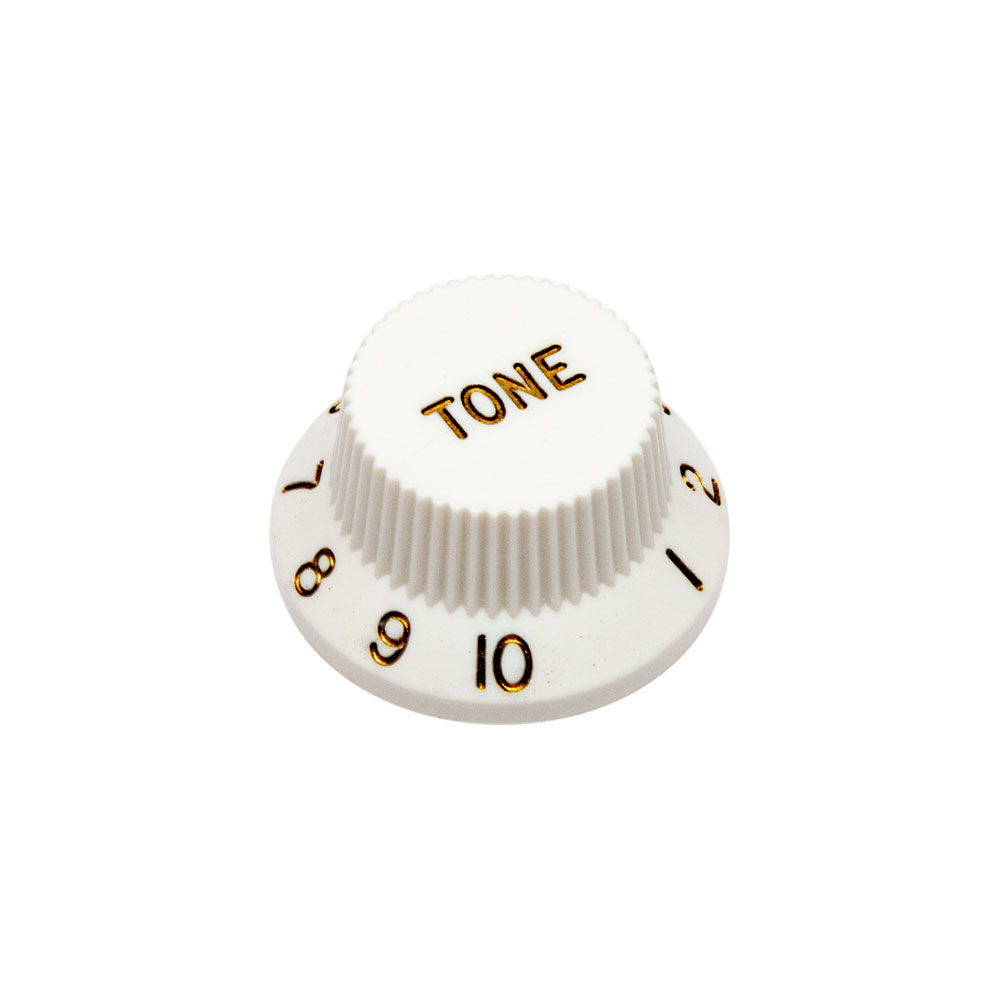 Hosco Tone Control Knob Fender Stratocaster Style (White, Imperial (inch))