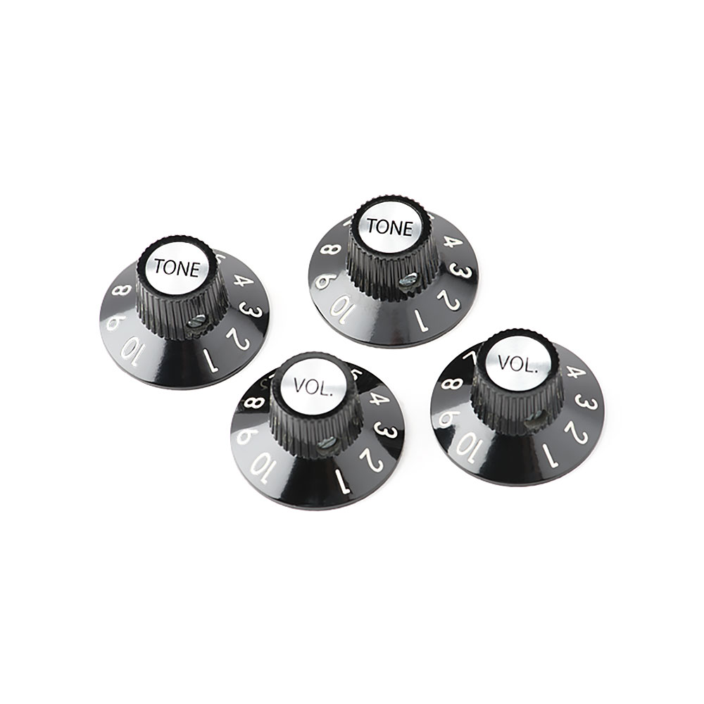 Fender 72 Telecaster Custom Witch Hat Style Knobs Set of 4 (Black)