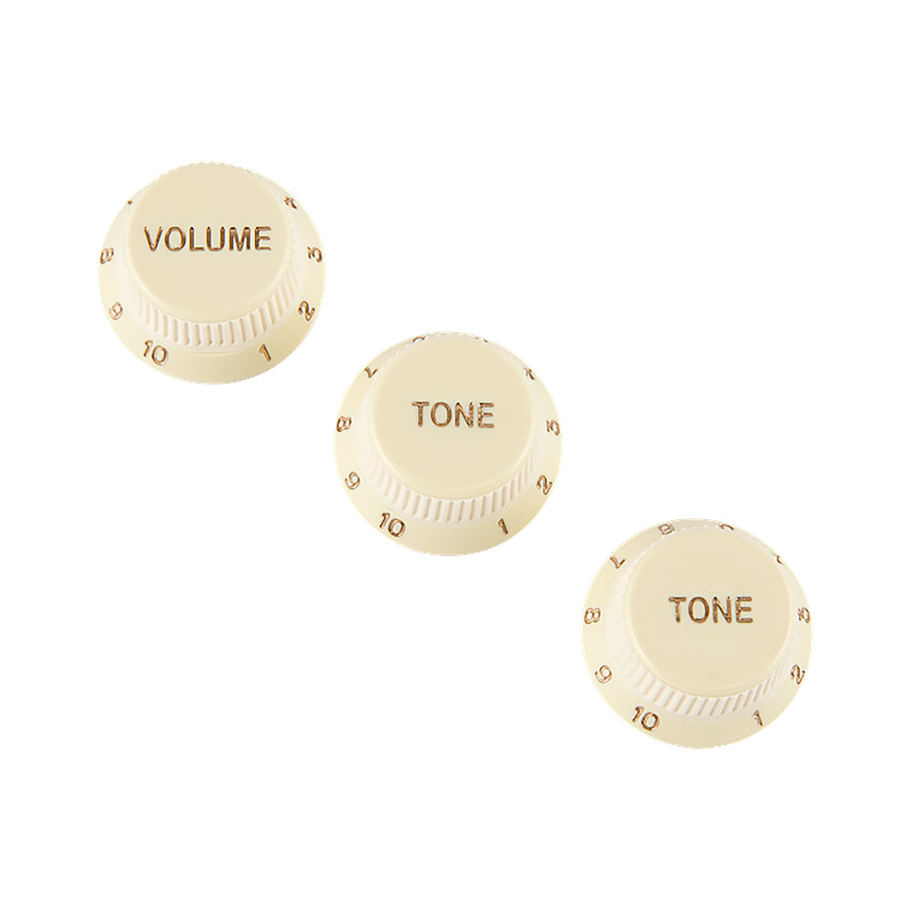Fender Stratocaster Soft Touch Control Knobs Set of 3 Volume/Tone/Tone (Aged White)