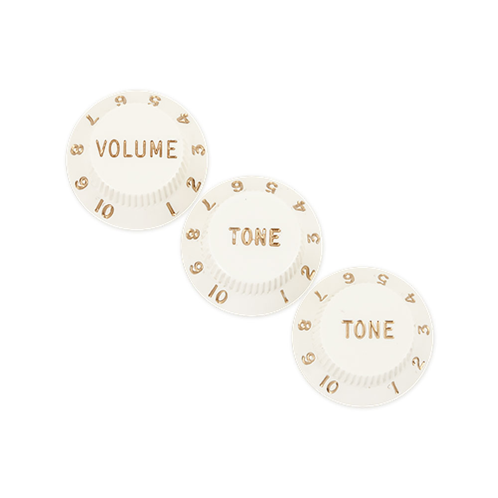 Fender Stratocaster Control Knobs Set of 3 Volume/Tone/Tone (Parchment White)
