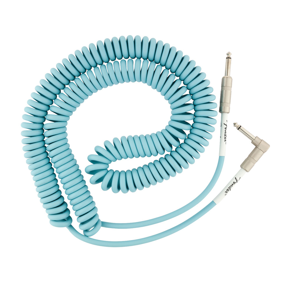 Fender Original Series Coil Cable (Daphne Blue, 30 ft, Straight/Right Angle)