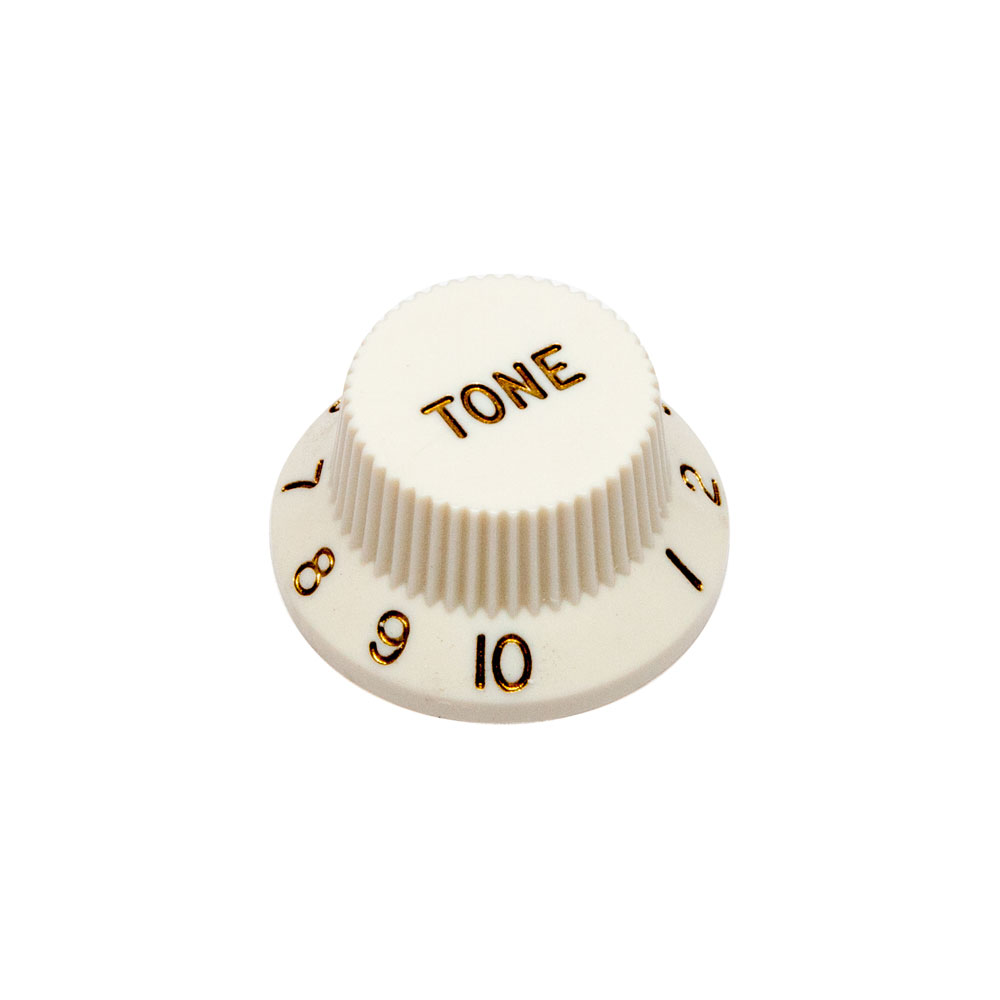 Hosco Tone Control Knob Fender Stratocaster Style (Parchment White, Imperial (inch))