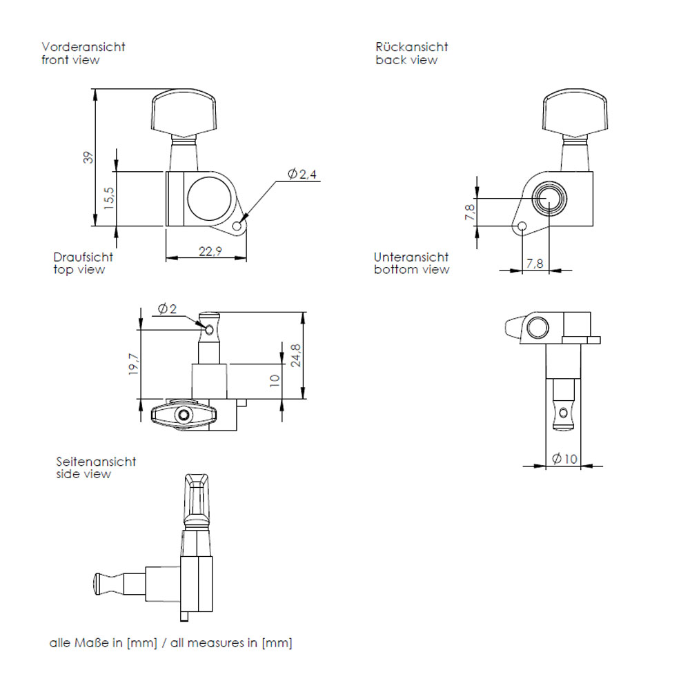 Schaller M6 Tuners 3 x 3 135 Screw (Black, .02)