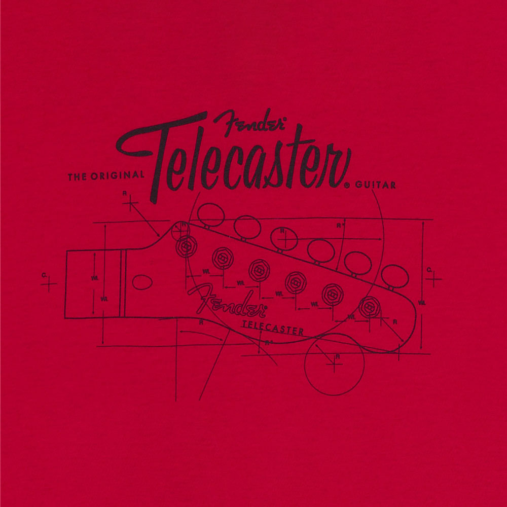 Fender Tele/Telecaster Headstock Blueprint T-Shirt - 30% Off! (Red, X-Large)