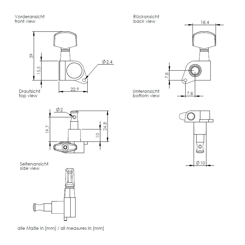 Schaller M6 Single Tuner 135 Screw (Right Handed, Black)