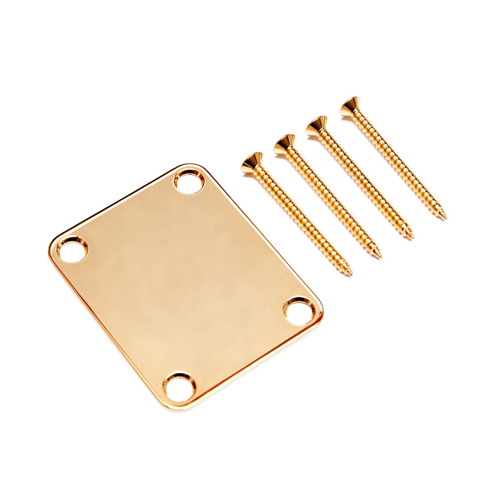 Gotoh NBS-3 Fender Style Neck Mounting Plate with Screws (Gold)
