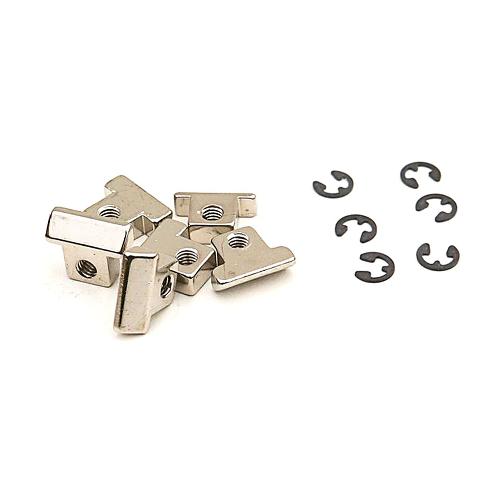 Faber Replacement ABR-1 Style Brass Tune-o-matic Saddles Set of 6 (Nickel, Unnotched)