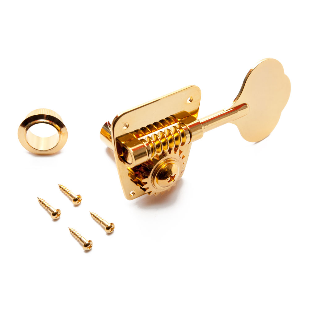 Gotoh FB30 Jazz & P Style Bass Tuners 4 In-Line Right Handed (Gold, Cloverleaf)