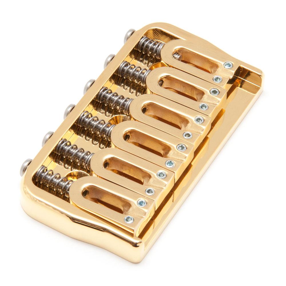 """Hipshot 6 String Hardtail Fixed Bridge (Gold, .175"""")"""