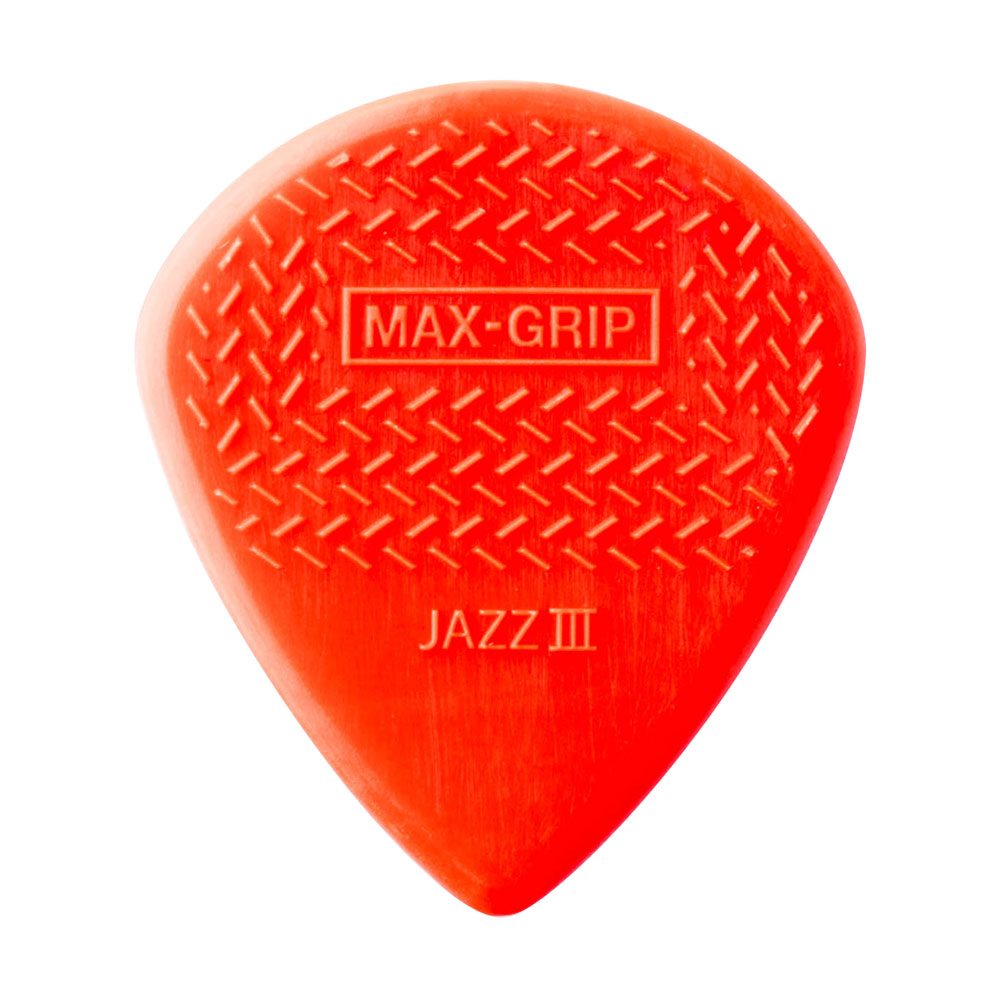Jim Dunlop Nylon Max Grip Jazz III 1.38 mm Picks (Red, Pack of 24)