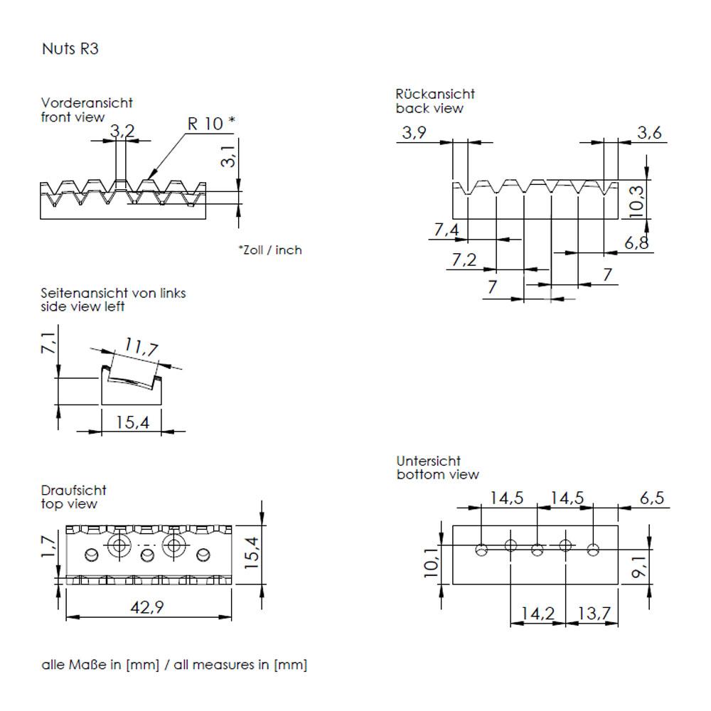 Schaller Floyd Rose Double Locking Tremolo (R3 Nut, 42 mm, Black)