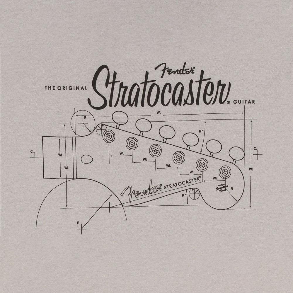 Fender Strat/Stratocaster Headstock Blueprint T-Shirt - 30% Off! (Silver, Large)