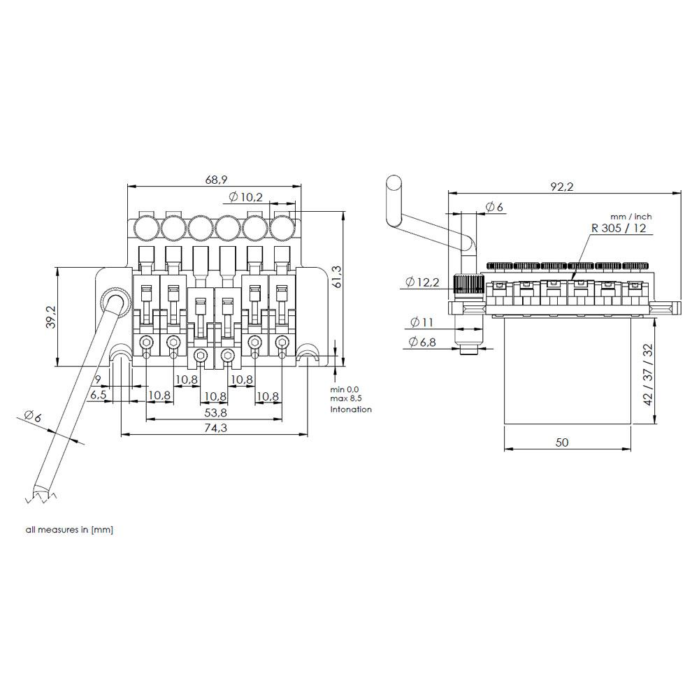 Schaller Floyd Rose Double Locking Tremolo (R2 Nut, 42 mm, Black)