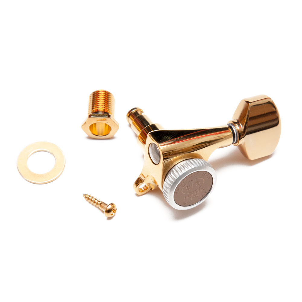 Gotoh SGS510Z Traditional Magnum Locking Tuners 6 In-Line Right Handed (Gold, A07)