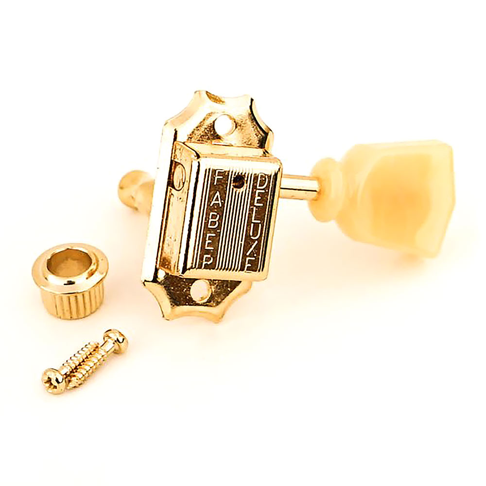 Faber Deluxe Tuners 3 x 3 Kluson Style w/ 9.2 mm Bushing (Gold, Tulip)