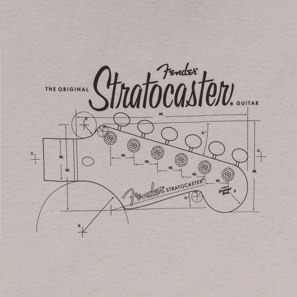 Fender Strat/Stratocaster Headstock Blueprint T-Shirt - 30% Off! (Silver, XX-Large)