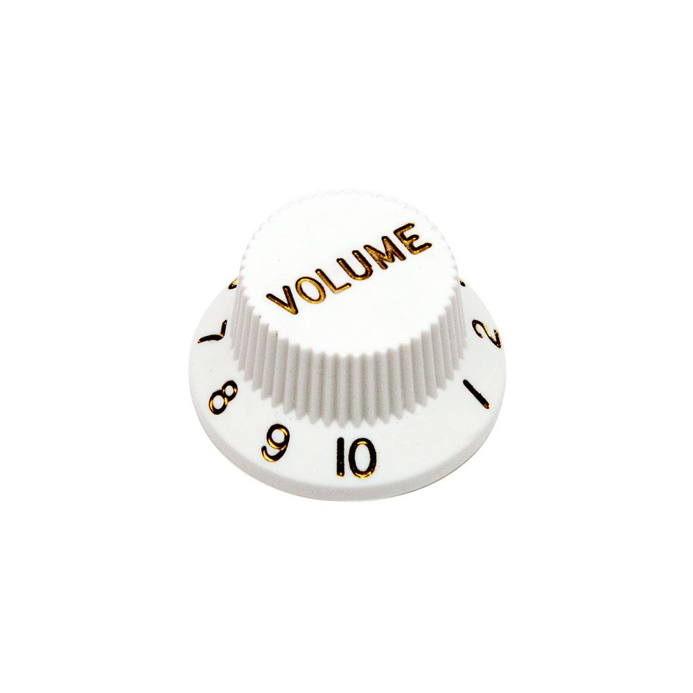 Hosco Volume Control Knob Fender Stratocaster Style (White, Imperial (inch))