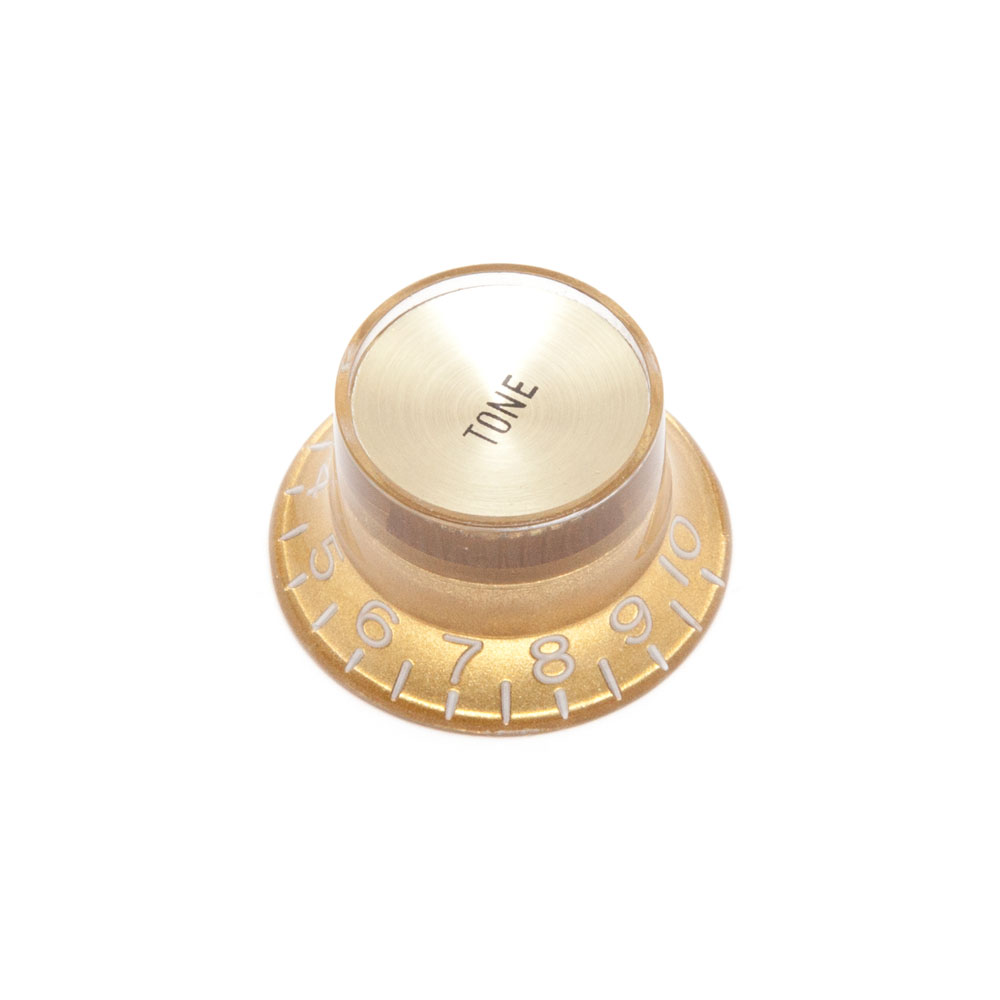 Hosco Reflector Tone Control Knob Gibson Style (Gold w/Gold Cap, Imperial (inch))