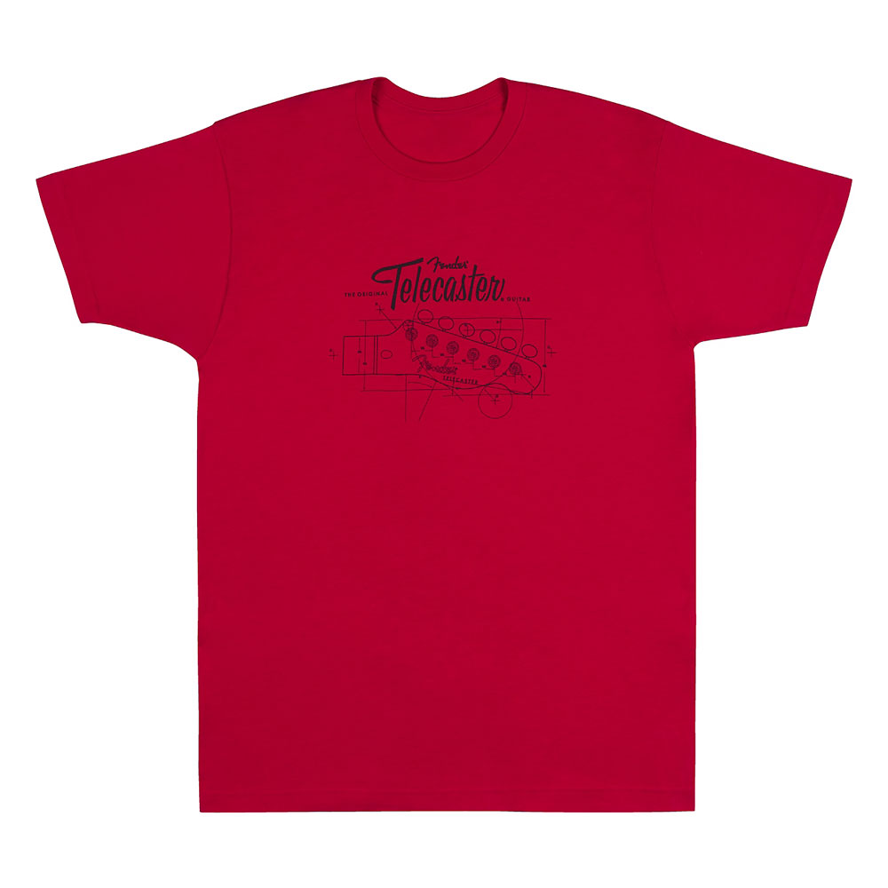 Fender Tele/Telecaster Headstock Blueprint T-Shirt - 30% Off! (Red, Large)
