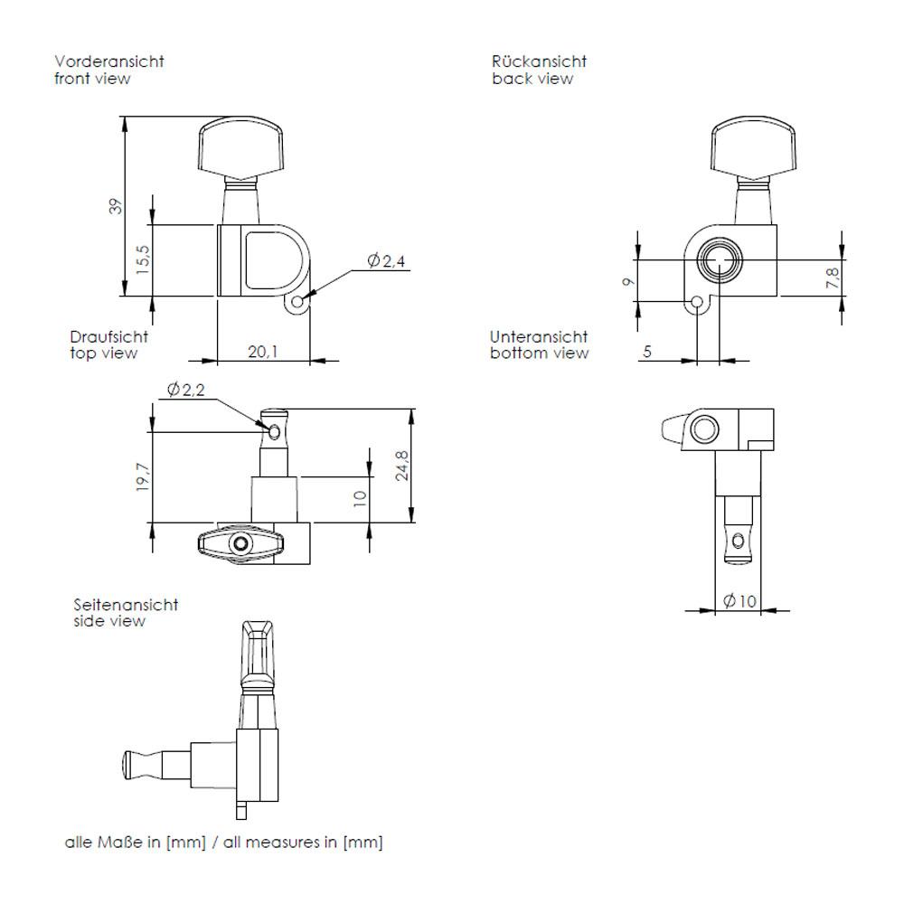 Schaller M6 Tuners 3 x 3 180 Screw (Black, .02)