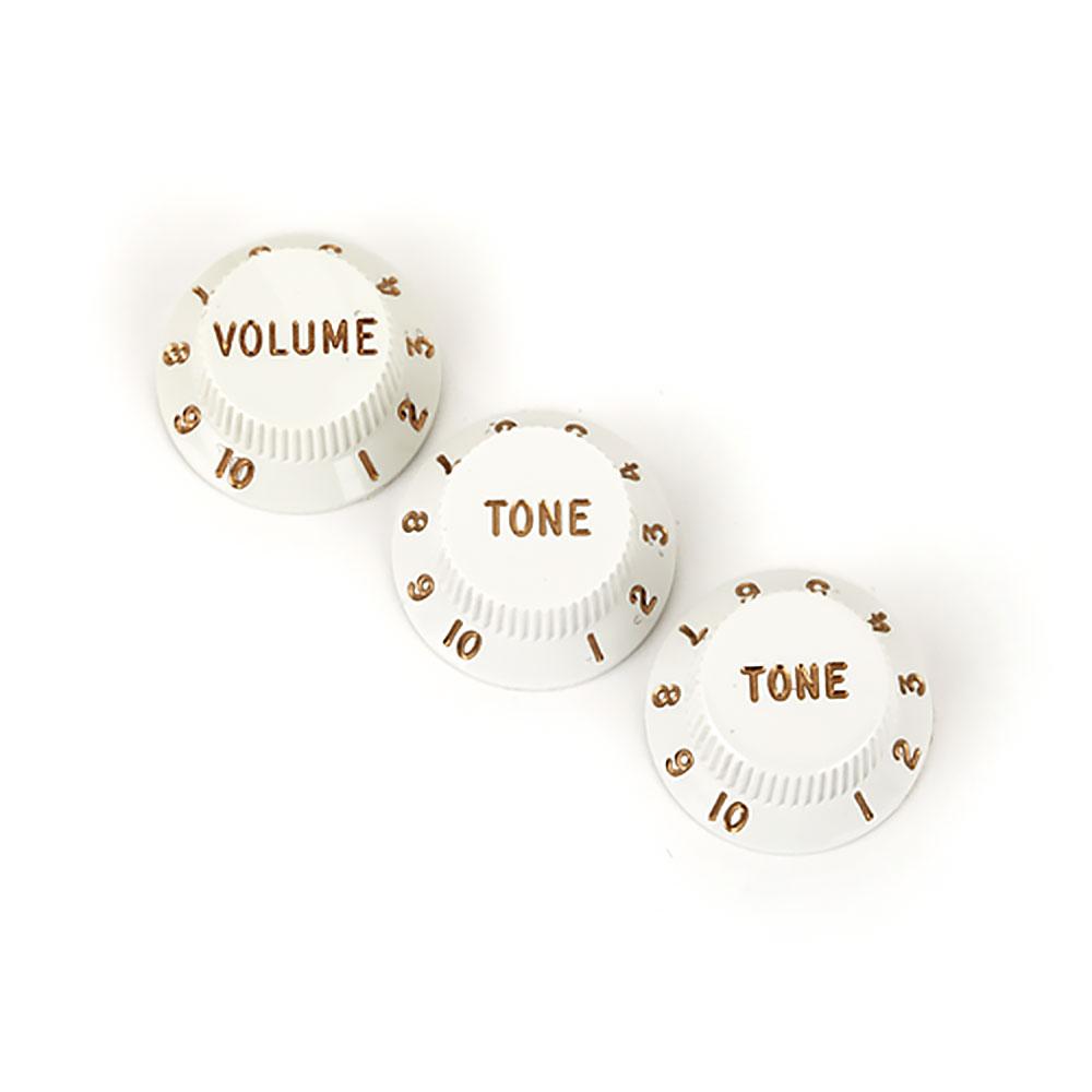 Fender Stratocaster Control Knobs Set of 3 Volume/Tone/Tone (White)