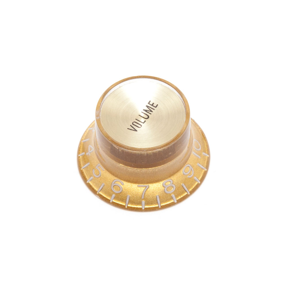 Hosco Reflector Volume Control Knob Gibson Style (Gold w/Gold Cap, Imperial (inch))